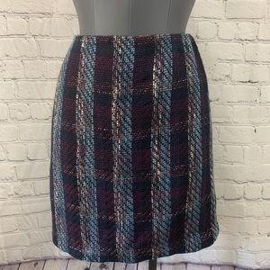 Ann Taylor LOFT Navy Blue Tweed Fall Skirt Size 2